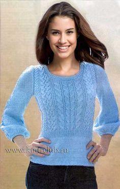 Modré dlouhé rukávy pletené - Renee - Lei Yu Xuan