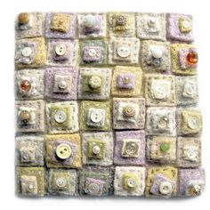 Fiber Art Greeting Card - Pieces of Dreams - Soft Pastels -Recycled Wool Sweaters and Vintage Buttons - Textile Art Card with Envelope Button Art, Button Crafts, Inchies, Recycled Sweaters, Wool Sweaters, Recycled Blankets, Penny Rugs, Textiles, Wool Applique