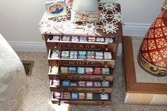 """All I can say is WOW when I check out these ideas for storing and organizing your embroidery floss. I certainly wish I was """"half"""" as organiz. Sewing Room Organization, Household Organization, Embroidery Floss Storage, General Crafts, Dmc Floss, Sewing Rooms, Space Crafts, Craft Storage, Craft Supplies"""