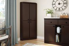 4-Door Corner Armoire, Chocolate