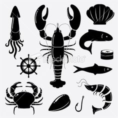 Seafood icons Royalty Free Stock Vector Art Illustration