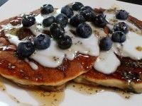 Gluten Free Blueberry Banana Pancakes w/ Coconut Cream