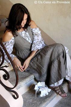 Linen dress on a blouse