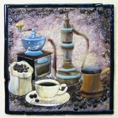 Coffee set warm glass picture