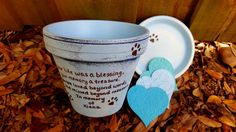 Pet Memorial Gifts  Painted Flower Pots  by HappyMooseGardenArt