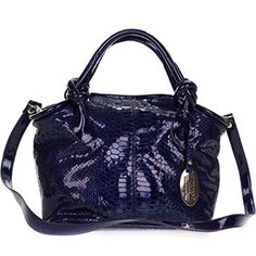 b4be8a519058 Giordano Italian Made Blue Patent Leather Python Embossed Leather Small  Handbag Purse - The Social Travel