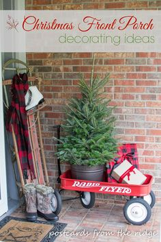 Creative ways to decorate your front porch and welcome guests for the holidays. Fun vintage outdoor items including a red wagon are used along with greenery. Bauernhaus Dekor Our Christmas Front Porch ~ Welcome Home Tour