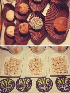 Delicious treats at a golden New Year's party! See more party ideas at CatchMyParty.com!