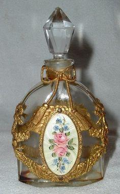 Antq Ormolu Gilt Brass Filigree Enamel Perfume Bottle Roses