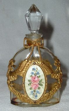 Antq Ormolu Gilt Brass Filigree Enamel Perfume Bottle Roses