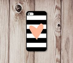 black and white stripe iphone case with a peach heart