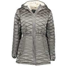 Steve Madden Titanium Faux Fur-Lined Hooded Long Puffer Coat ($40) ❤ liked on Polyvore featuring outerwear, coats, jackets, long puffy coat, wrap coat, insulated coat, long puffer coat and long coat
