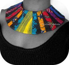 Handmade fabric collar Striking African Bib by BarefootModiste