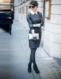 Little black (leather) dress. So Audrey Hepburn!