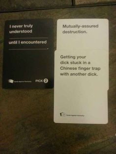 Cards Against Humanity is a party game for horrible people. Funniest Cards Against Humanity, Funny Quotes, Funny Memes, Hilarious, Qoutes, Horrible People, Twisted Humor, Funny Cards, Just For Laughs