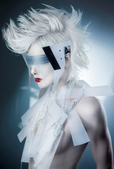 Futuristic frosted eyewear and fashion Mohawk