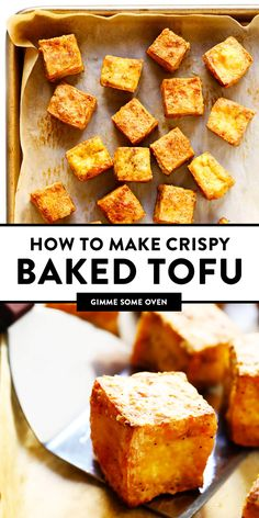 This Crispy Baked Tofu recipe is the BEST! It's quick and easy to make totally customizable with your favorite seasonings or sauces naturally gluten-free and vegan and perfect for adding to a soup stir-fry curry or whatever sounds good. Tasty Vegetarian Recipes, Vegan Dinner Recipes, Whole Food Recipes, Cooking Recipes, Dinner Healthy, Best Tofu Recipes, Whole Foods Tofu Recipe, Easy Recipes, Recipes With Tofu Healthy