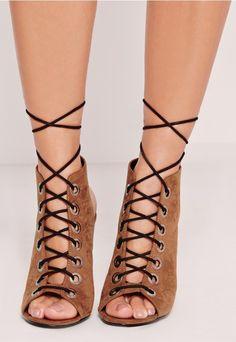 Eyelet Lace Up Block Heel Sandal Tan - Missguided