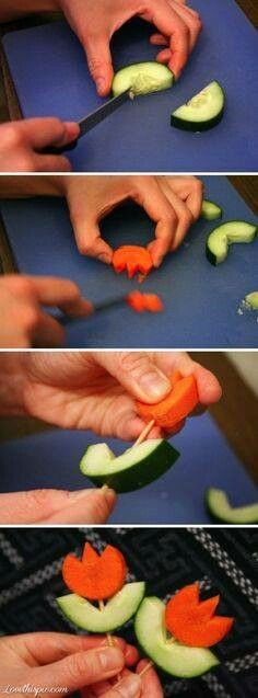 Cute way to do cucumber and carrot skewers.