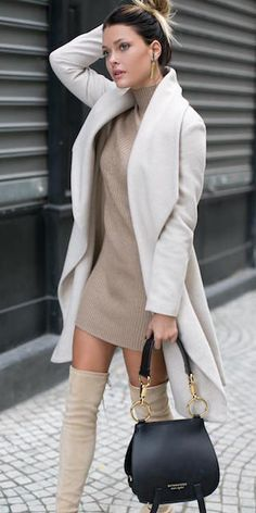 Missguided Knitted Mini Dress // Fashion Look by Caroline Receveu 45 Amazing Casual Style Outfits To Copy Now – Missguided Knitted Mini Dress // Fashion Look by Caroline Receveu Source Winter Outfits For Work, Fall Outfits, Outfit Winter, Dress Winter, Dress Outfits, Sweater Dresses, Jumper Dress, Dress Summer, Outfit Summer