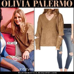 Olivia Palermo in beige knit sweater storets roa and skinny jeans j brand 835