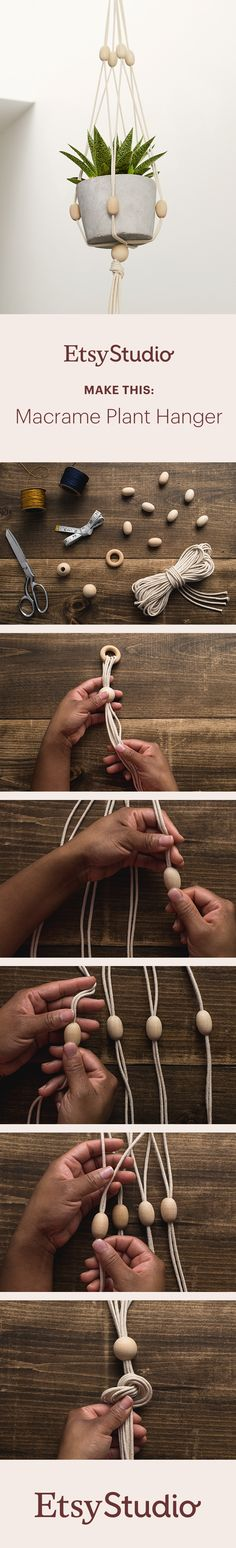 Make your own macrame-inspired plant hanger with macrame rope, wooden beads, and a little time. Add your own personal flair by painting the beads with acrylic paint or wrapping the top loop with silk cord. Bright and colorful or totally neutral – the final aesthetic is up to you!