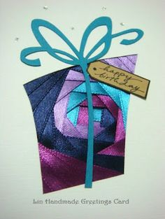 Lin Handmade Greetings Card: Iris folding - haven't seen it with the satin ribbon before - very pretty! Iris Folding Templates, Iris Paper Folding, Iris Folding Pattern, Handmade Greetings, Greeting Cards Handmade, Paper Cards, Folded Cards, Card Patterns, Crochet Patterns