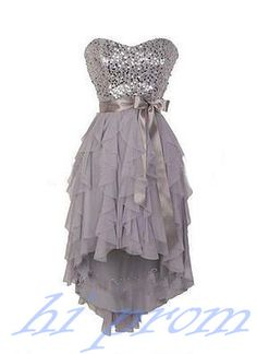 Grey Homecoming Dress,Bowknot Homecoming Dresses,High low Homecoming Gowns,Strapless Prom Dress,Gray Prom Dresses,Sequin Sweet 16 Dress,Cute Evening Dresses For Teens