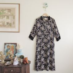 Vtg 90s Black Floral Maxi Dress w/ Velveteen Cuffs & Collar • Witchy Grunge Sheer Dress - M/L by loudmouthmarket on Etsy https://www.etsy.com/listing/463690666/vtg-90s-black-floral-maxi-dress-w