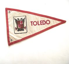 Toledo Spain Souvenir Pennant, Small Vintage Flag in White and Red by planetalissa on Etsy