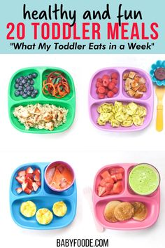 20 Healthy Toddler Meals is a true look at What My Toddler Eats in a Week including breakfasts, snacks, lunches and dinners! 20 healthy and fun toddler meal ideas for your own little one. Also included are links to recipes, advice on how to deal with picky eaters and my tried-and-true methods on how to make healthy meals without losing your mind! Healthy Toddler Meals, Toddler Snacks, Healthy Meals, Easy Meals, Healthy Recipes, Healthy Store Bought Snacks, Sweet Potatoe Bites, On The Go Snacks, Roasted Sweet Potatoes