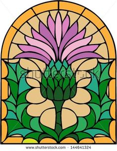 The thistle, the floral emblem of Scotland, vector illustration in stained glass window, symmetric composition