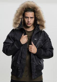 e67c1af8cf891 Kapatcha TB1809 Urban Classics Hooded Heavy Fake Fur Herren Bomberjacke  chwarz   04053838204924