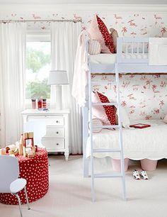 Sarah Richardson Design - Lovely pink red blue girl's bedroom design with pale blue bunk . Sarah Richardson, Girls Bedroom, Bedroom Decor, Blue Bedroom, Budget Bedroom, Bedroom Ideas, Red Nursery, Kids Bunk Beds, Little Girl Rooms
