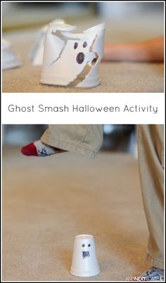 Ghost smashing Halloween activity for kids from And Next Comes L - (Maybe try plastic solo-type or paper cups so they can at least be recycled)