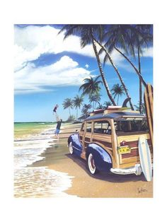 Woody with surfboards beach art surf Vintage Hawaii, Vintage Florida, Vintage Surfing, Surf Retro, Surf Mar, Oldschool, I Love The Beach, Beach Signs, Surfs Up