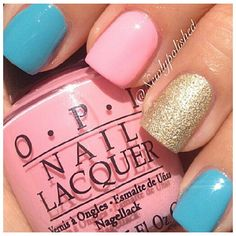 Turquoise barbie pink and gold glitters
