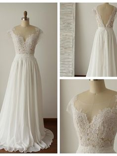 A-line Wedding Dress - Ivory Sweep/Brush Train Scoop Chiffon / Lace - USD $129.99