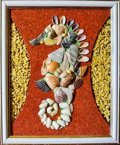 Sea Horse - seashell mosaic wall decor