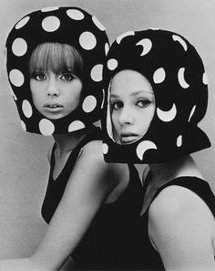 Pattie Boyd & Celia Hammond    Dots & Moons, Pattie Boyd & Celia Hammond wearing helmets by Edward Mann, photo John French. England, 1965.