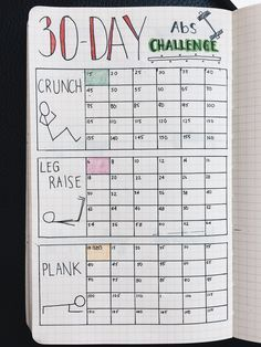 Bullet Journal | 30 Day Fitness Challenge Tracker- stay dedicated and commited with this Bullet Journal Tracker idea by Yuka Suzuki