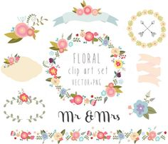 Gráfico floral, boda Imágenes Prediseñadas, vector + PNG Digital corona, flores, cintas, pájaros, laurel, frontera, manojo, marco