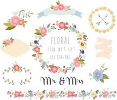 Floral clipart, wedding clipart,vector + PNG Digital Wreath, Flowers, Ribbons, birds, laurel, border, bunch, frame