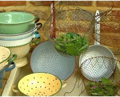 Colanders & salad shakers - The Vintage Kitchen Store grandad wore one on his head!!!!