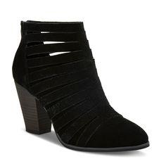 Women's Jordache Strappy Suede Block Heel Booties Mossimo Supply Co. - Black 8