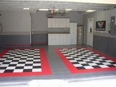General Race Deck Garage Floor Tiles Anyone use these in their garage for their ;) I'm thinking about pulling up my tired floor mats and perhaps installing some garage floor tiles. I checked out the tiles offered by Racedeck and I'm interested i Garage Shed, Man Cave Garage, Garage Workshop, Garage Plans, Dream Garage, Garage Storage, Garages, Garage Floor Tiles, Garage Flooring