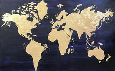 World map canvas World Map Wall art Gold Leaf Painting Map World Map Canvas, World Map Wall Art, Blue Gold, Navy Blue, Map Painting, Gold Wall Art, Large Canvas Art, Any Images, Gold Leaf
