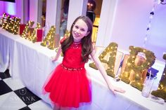 Bat Mitzvah Party CT - Girl in Red Dress with Name in Fairy Lights {Party by Swank Productions, Sean Smith Photography} - mazelmoments.com
