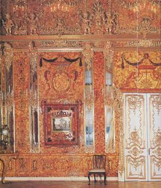 Catherine Palace, Russia, The Amber Study. The room was lost during world war 2. It was recreated in 2003.