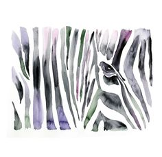 Zebra african animal ART PRINT 13X19 original watercolor painting illustration home wall decor  modern contemporary reproduction poster. via Etsy.